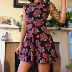 Rose & Black Fit & Flare Dress